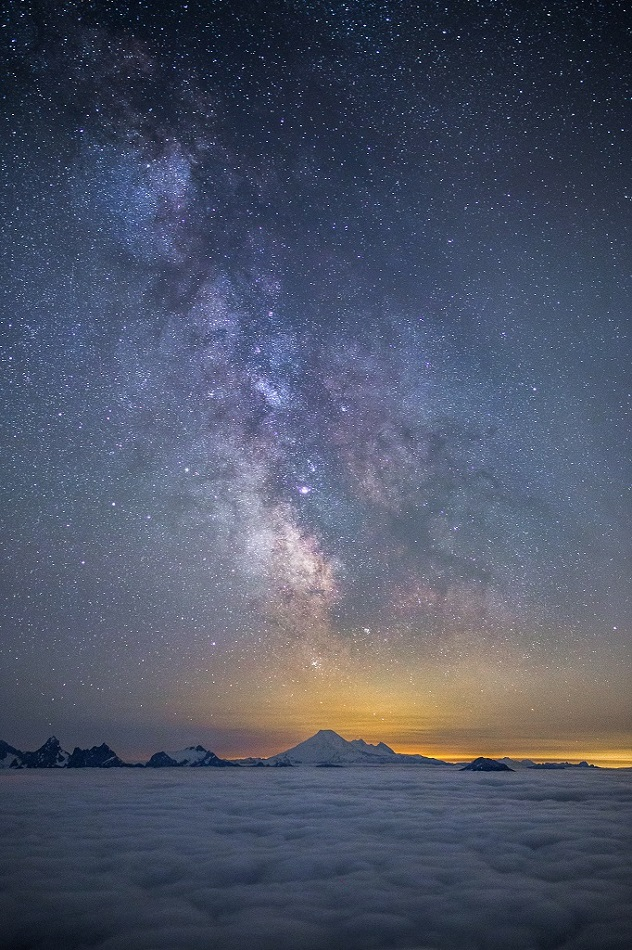 Milky Way over Mount Baker in Washington. Also known as Koma Kulshan. It is an active Stratovolcano.