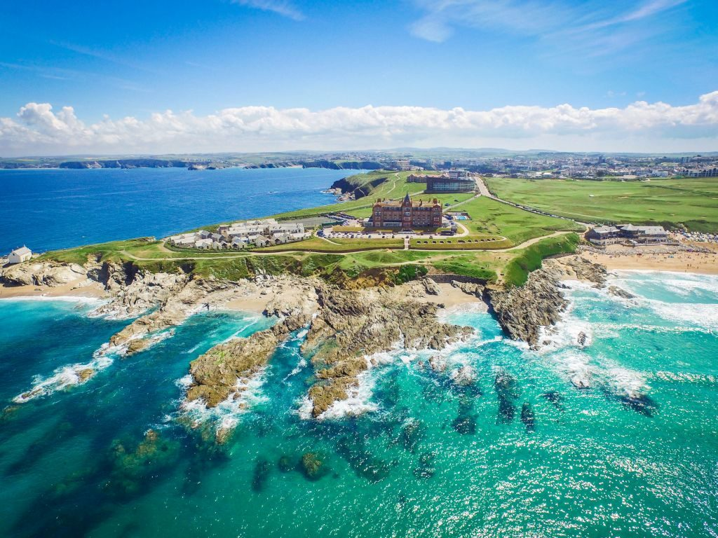 The Headland Hotel overlooking Fistral Beach in Newquay hotels in Cornwall