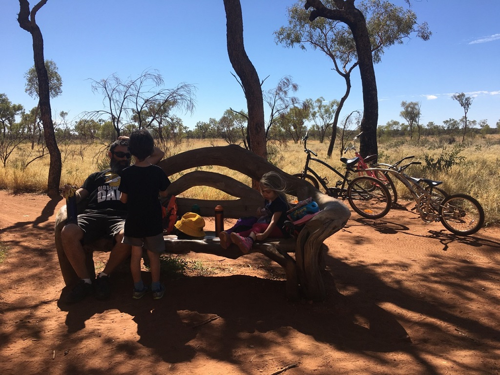 cycling taking a break uluru australia