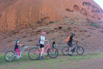 uluru cycling family pic landscape Australia trip