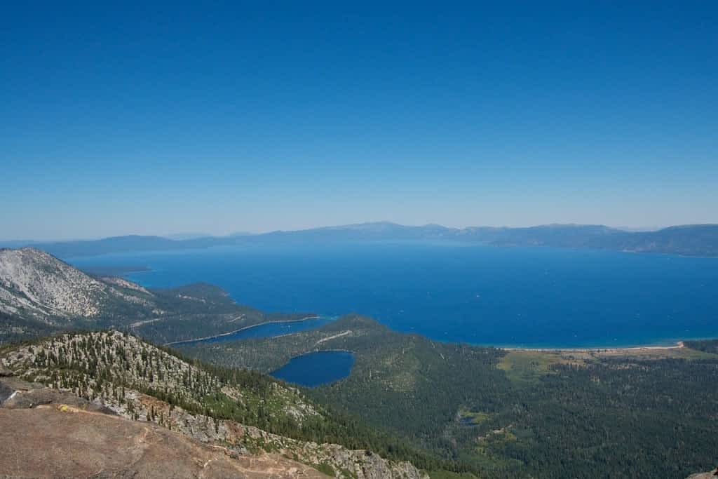 view from the top of mount tallac full view of fallen leaf lake, emerald bay and all of lake tahoe