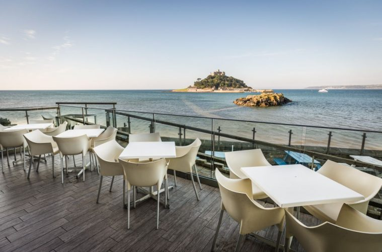 Godolphin Arms - Lower deck Terrace - credit Mike Searle view of St Michael's Mount
