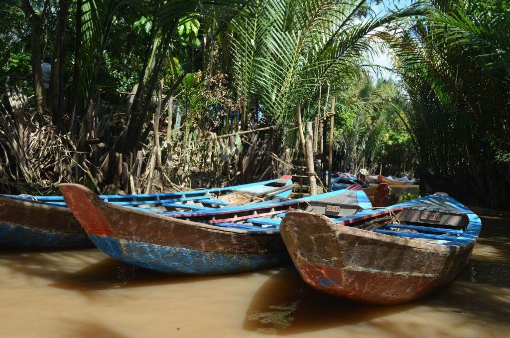 Sampan boats in Vietnam