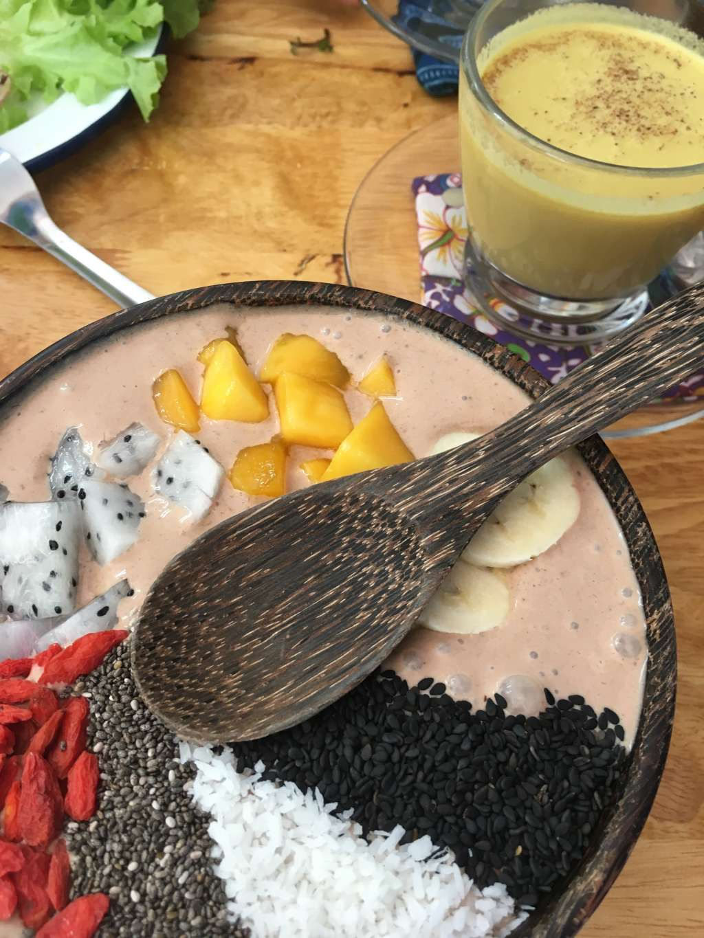 Choc smoothie bowl and turmeric latte Chiang Mai
