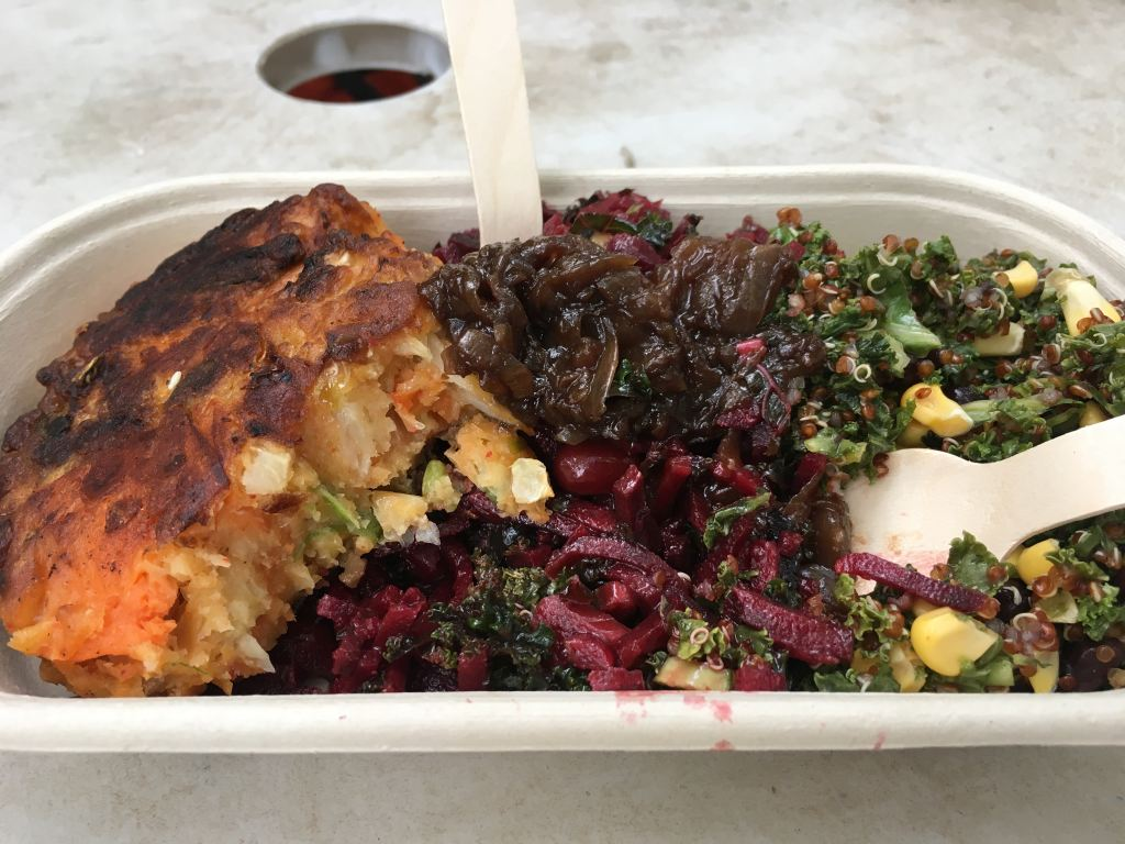 vegan salad and pie at festival--Vegan Activism